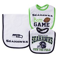 Baby Seattle Seahawks 3 pc Bib & Burp Cloth Set