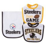 Baby Pittsburgh Steelers 3-Piece Bib & Burp Cloth Set