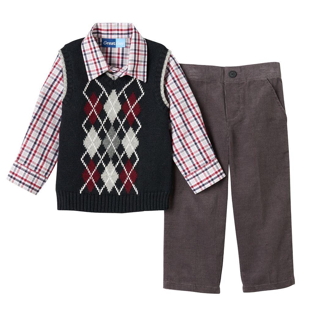 Toddler Boy Great Guy Knit-In Pattern Sweater Vest, Plaid Shirt & Corduroy Pants Set
