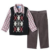 Toddler Boy Great Guy Knit-In Pattern Sweater Vest, Plaid Shirt & Corduroy Pants Set