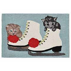 Liora Manne Frontporch Kittens and Ice Skates Indoor Outdoor Rug