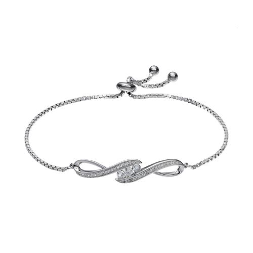 Sterling Silver Lab-Created White Sapphire Infinity Lariat Bracelet