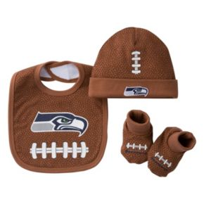 Baby Seattle Seahawks 3-Piece Cap, Crib Shoes & Bib Set