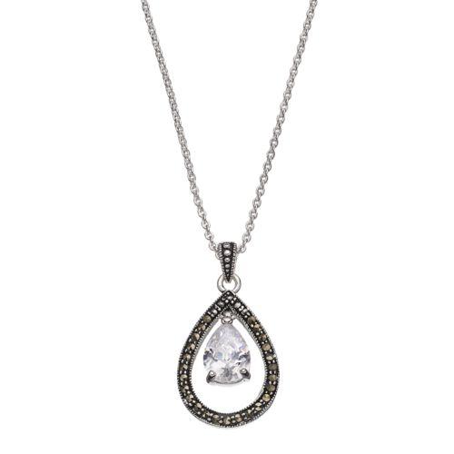 Silver Luxuries Cubic Zirconia & Marcasite Teardrop Pendant