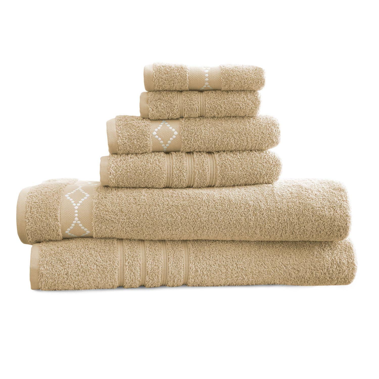 pacific coast textiles luxury embroidered 6piece cotton towel set
