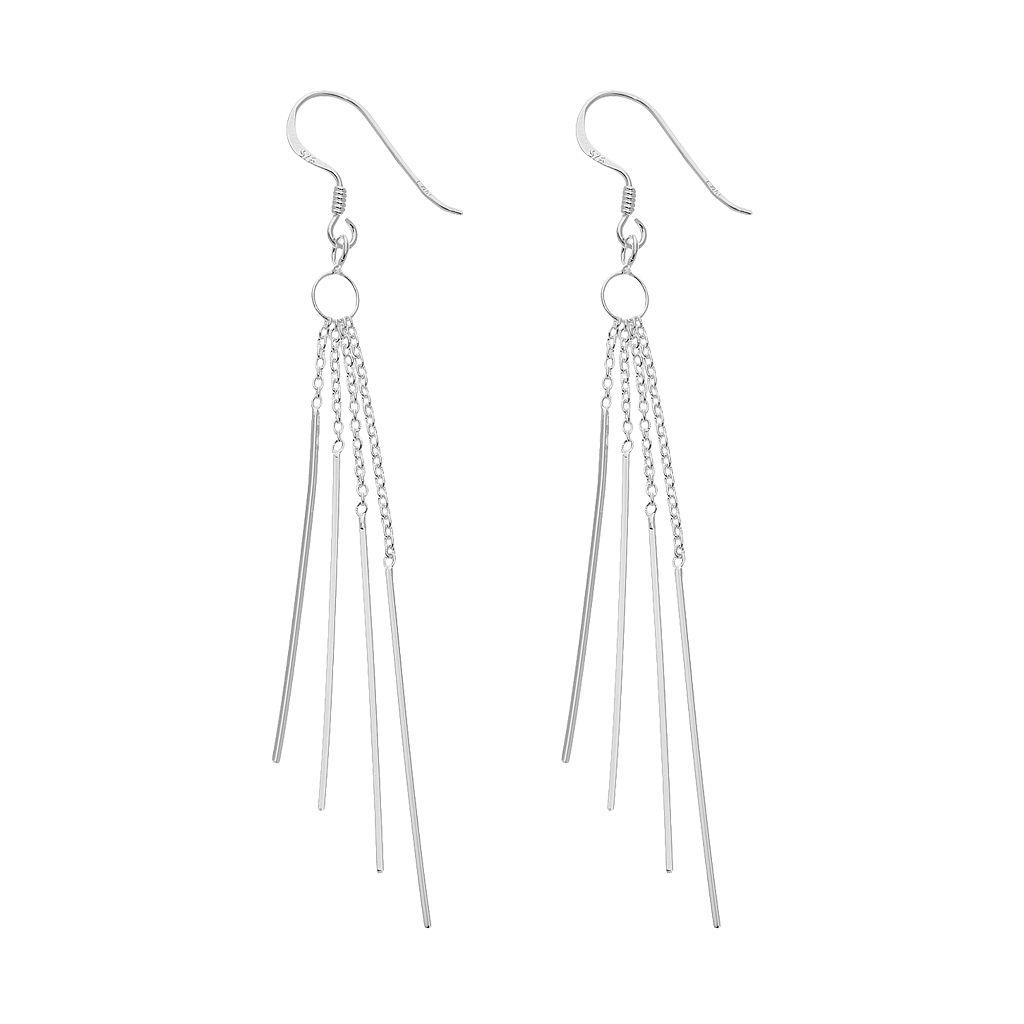 Sterling Silver Chain Stick Drop Earrings