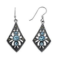 Silver Plated Crystal & Marcasite Kite Drop Earrings