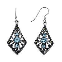 Silver Plated Crystal & Marcasite Kite Drop Earrings