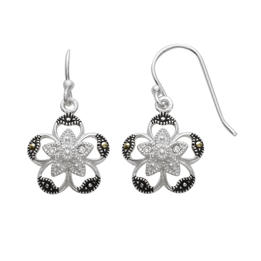 Silver Plated Crystal & Marcasite Flower Drop Earrings