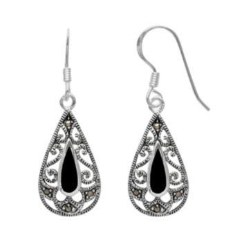 Silver Plated Onyx & Marcasite Filigree Teardrop Earrings