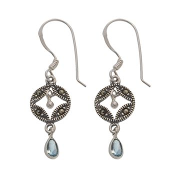 Sterling Silver Blue Glass & Marcasite Circle Drop Earrings