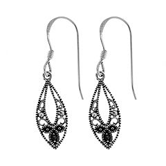 Sterling Silver Marcasite Marquise Drop Earrings