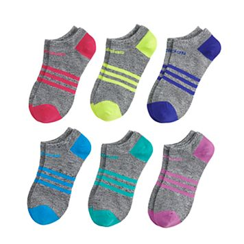 Girls 4-16 adidas 6-pk. climalite Space-Dyed No-Show Socks