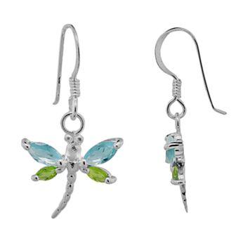Sterling Silver Blue & Green Glass Dragonfly Drop Earrings