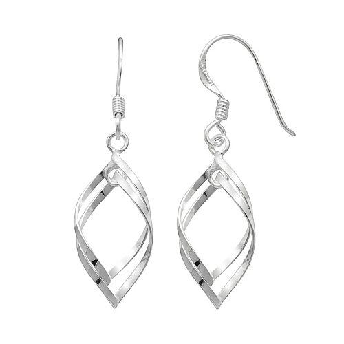 Sterling Silver Twist Marquise Drop Earrings