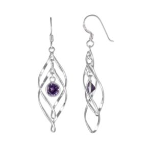 Sterling Silver Simulated Amethyst Marquise Drop Earrings