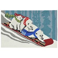 Liora Manne Frontporch Toboggan Polar Bears Indoor Outdoor Rug