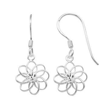 Sterling Silver Crystal Flower Drop Earrings