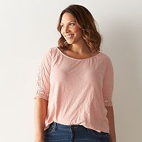 Plus Size SONOMA Goods for Life™ Lace-Accent Top
