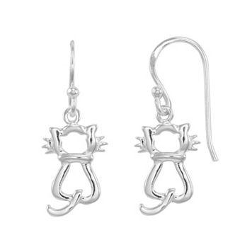 Sterling Silver Cat Drop Earrings
