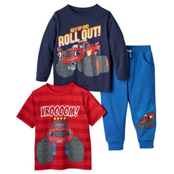 Toddler Boy Blaze & the Monster Machines Long Sleeve & Short Sleeve Tee & Pants Set