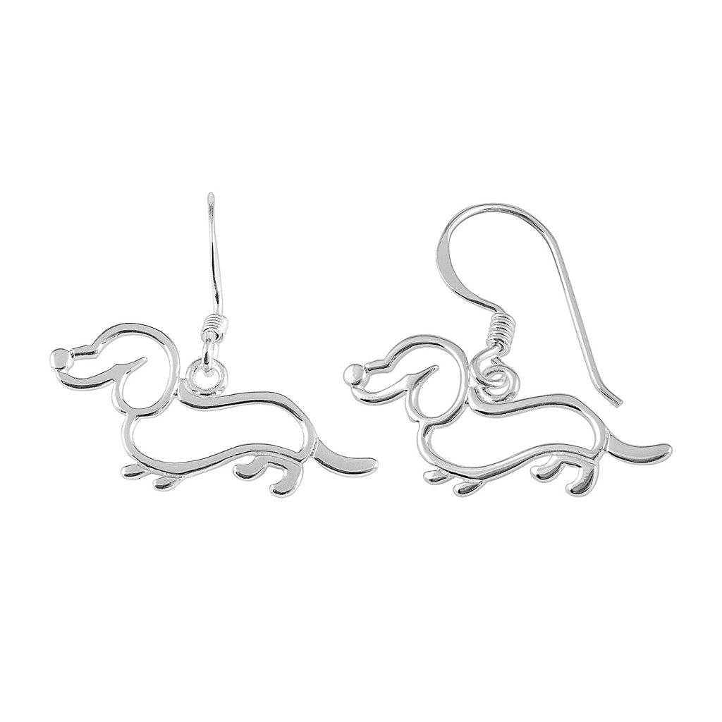 Sterling Silver Dachshund Drop Earrings