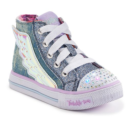 bf086e1037cb9 Skechers Twinkle Toes Shuffles Flutter Up Toddler Girls  Light-Up Shoes