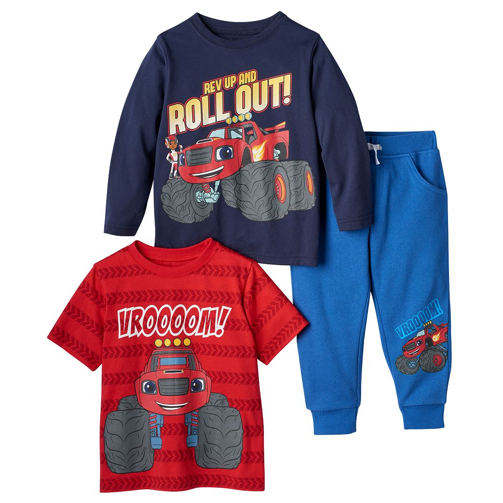 Baby Boy Blaze & the Monster Machines Short Sleeve & Long Sleeve Tee & Pants Set