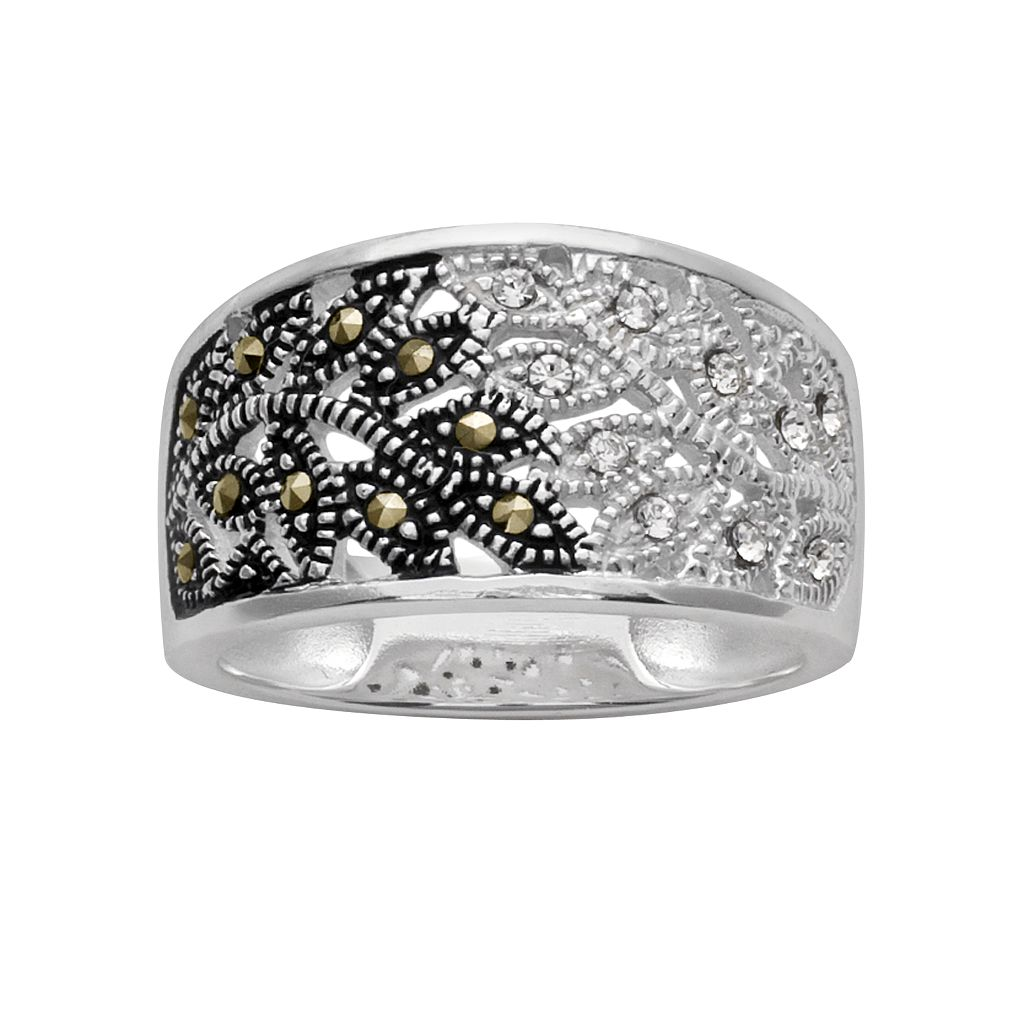 Silver Plated Crystal & Marcasite Leaf Ring