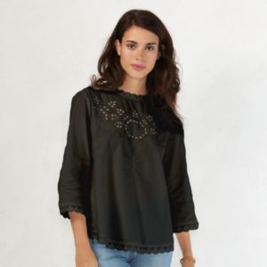 Women's LC Lauren Conrad Embroidered Poplin Top