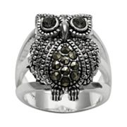 Silver Plated Crystal & Marcasite Owl Ring