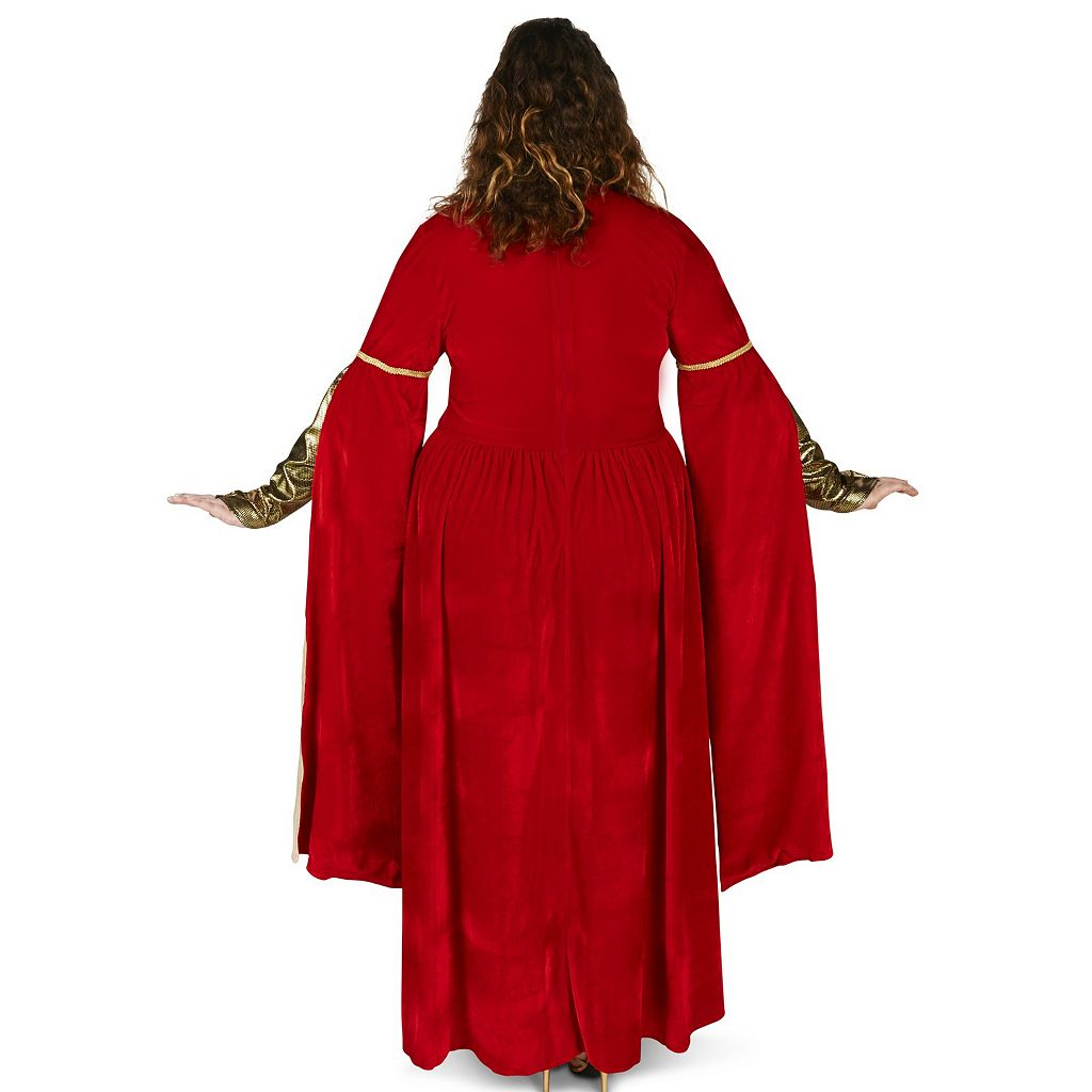 Adult Plus Red Velveteen Renaissance Dress Costume