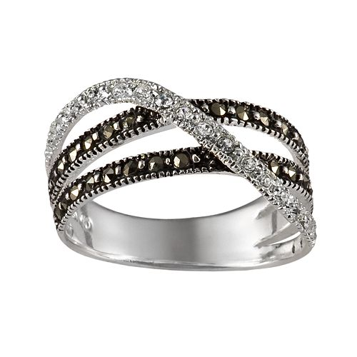 Sterling Silver Marcasite & Crystal Crisscross Ring