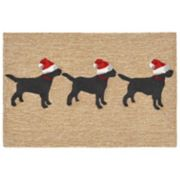 Liora Manne Frontporch Three Dogs Christmas Indoor Outdoor Rug