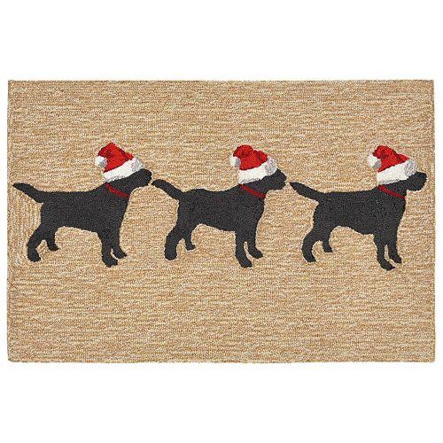 Liora Manne Frontporch Three Dogs Christmas Indoor Outdoor Rug