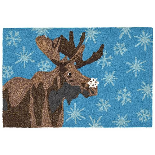 Trans Ocean Imports Liora Manne Frontporch Moose and Snowflakes Indoor Outdoor Rug