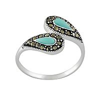 Sterling Silver Marcasite & Simulated Turquoise Bypass Ring