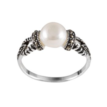 Sterling Silver Freshwater Cultured Pearl & Marcasite Ring