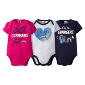 Baby Girl San Diego Chargers 3-Pack Bodysuits