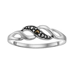 Sterling Silver Marcasite Swirl Ring