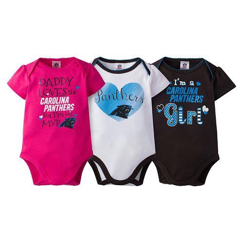 Baby Girl Carolina Panthers 3-Pack Bodysuits 86144636b