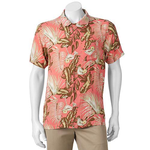 Men's Caribbean Joe Classic-Fit Convertible-Collar Tropical Button-Down Shirt