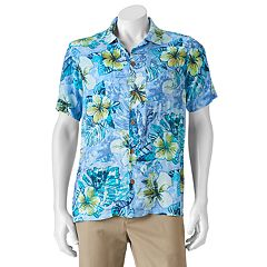 Men's Caribbean Joe Classic-Fit Convertible-Collar Tropical Button-Down Shirt