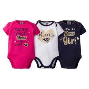 Baby Girl Los Angeles Rams 3-Pack Bodysuits