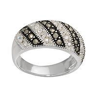 Sterling Silver Marcasite & Crystal Striped Ring