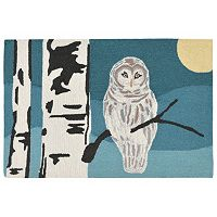 Liora Manne Frontporch Snowy Owl Night Indoor Outdoor Rug