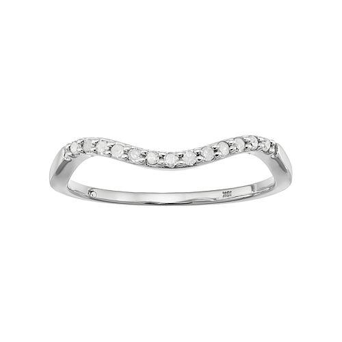 10k White Gold 1/10 Carat T.W. Diamond Wave Ring