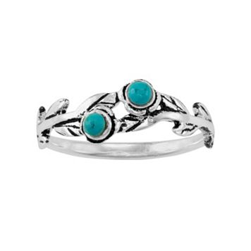 Sterling Silver Simulated Turquoise Leaf Midi Ring