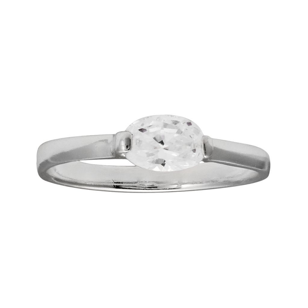 Kids' Sterling Silver Cubic Zirconia Ring