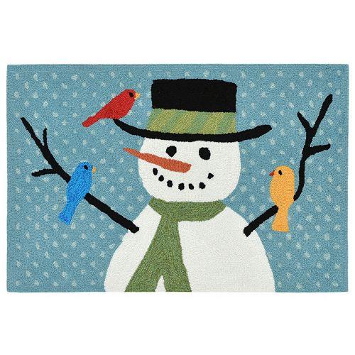 Liora Manne Frontporch Snowman and Friends Indoor Outdoor Rug